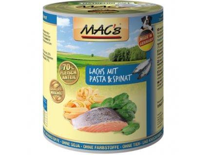 Macs Dog masová konzerva pro psy (losos s těstovinami a špenátem)