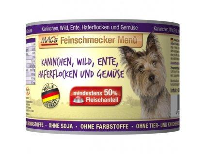 Macs Dog Fajnšmekr masová konzerva pro psy (směs králičího, kachního masa, zvěřiny, ovesných vloček a zeleniny)
