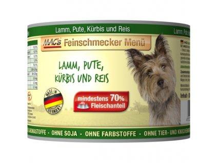 Macs Dog Fajnšmekr masová konzerva pro psy (směs jehněčího a krůtího masa s dýní a rýží)