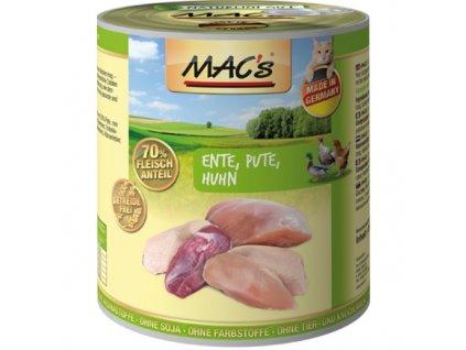 Macs Cat masová konzerva pro kočky (kachní, krůtí, kuřecí)