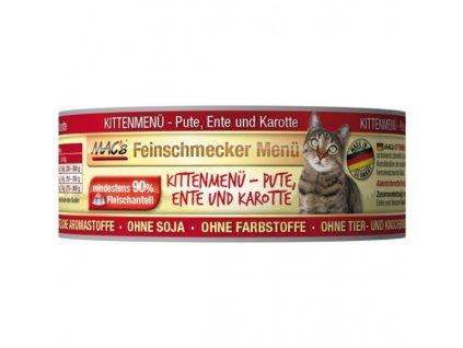 Macs Cat Fajnšmekr masová konzerva pro koťata (kachní s mrkví)
