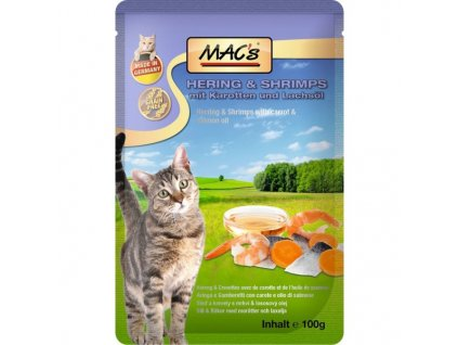 Macs Cat masová kapsička pro kočky (sleď s krevetami)