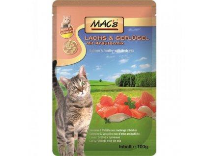 Macs Cat masová kapsička pro kočky (losos a drůbeží s bylinkami)