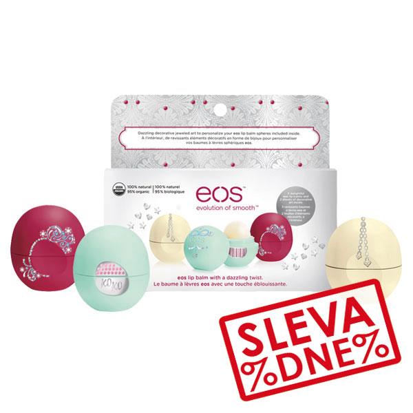 EOS Limitovaná edice tří balzámů s nálepkami (Holiday 2015 Limited Edition Decorative Lip Balm Collection) 3x7 g