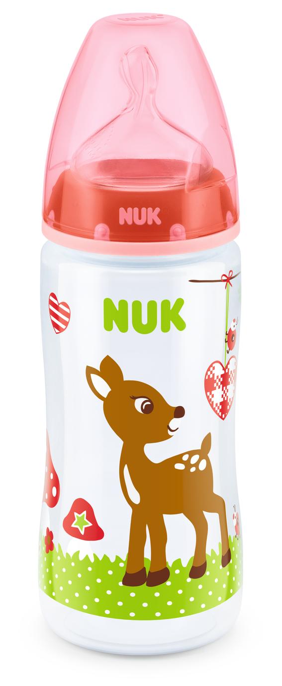 NUK First Choice láhev PP Baby Glück, silikon, vel. 1, průtok M, 300 ml Barva: modrá/slon
