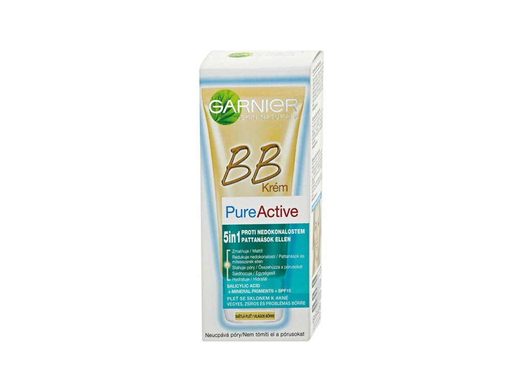 Garnier Skin Naturals Pure Active SPF 15 BB krém 5v1 50 ml Odstín: Light