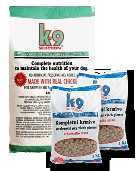 K-9 Selection Growth Large Breed Formula (krmivo pro štěňata velkých plemen) 12 kg + 2x 1kg balení zdarma