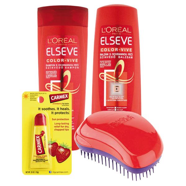 L'Oréal Paris & Tangle Teezer & Carmex Dárková sada pro barvené vlasy 400 ml + 400 ml + 10 g