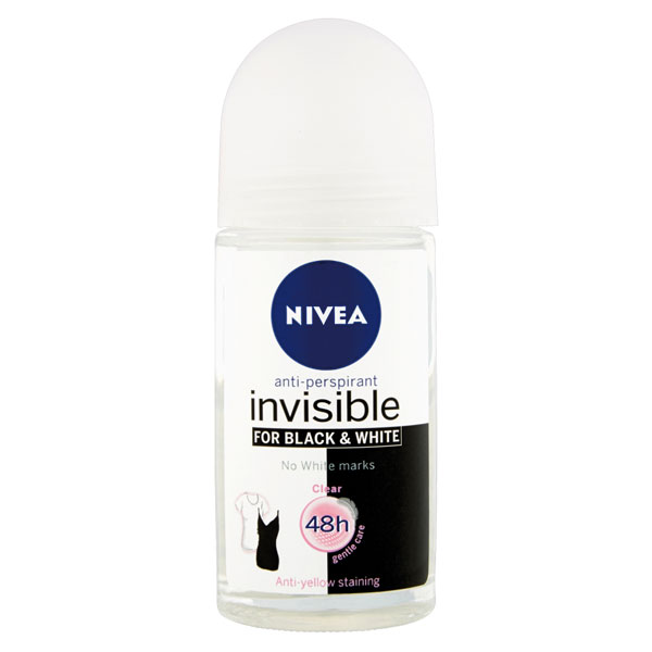 Nivea Kuličkový roll-on antipespirant Invisible for Black & White Clear 50 ml