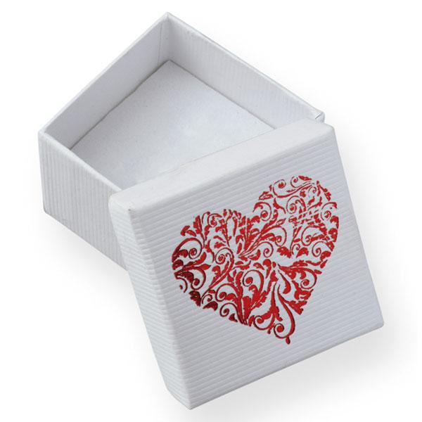 Papírová krabička bílá s vínovým potiskem srdce 50 x 50 mm