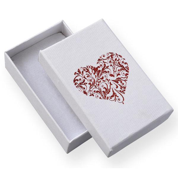 Papírová krabička bílá s vínovým potiskem srdce 50 x 80 mm