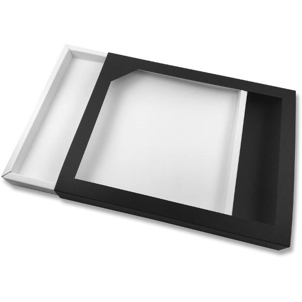 Papírová krabička černá s průhledem 260 x 205 x 27 mm