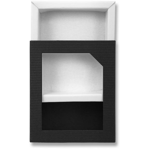 Papírová krabička černá s průhledem 75 x 60 x 23 mm