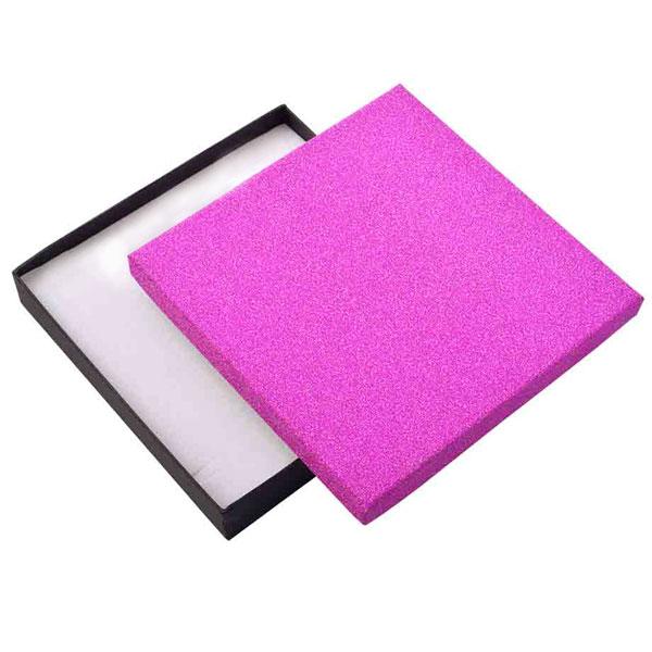 Papírová krabička černá s růžovým třpytivým víčkem 150 x 150 mm