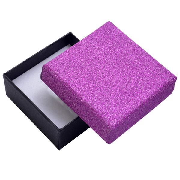 Papírová krabička černá s růžovým třpytivým víčkem 80 x 80 mm