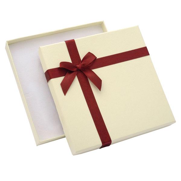 Papírová krabička krémová s vínovou stužkou 140 x 140 mm