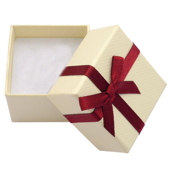 Papírová krabička krémová s vínovou stužkou 45 x 45 mm