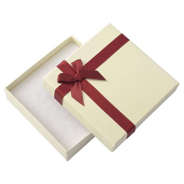 Papírová krabička krémová s vínovou stužkou 85 x 85 mm