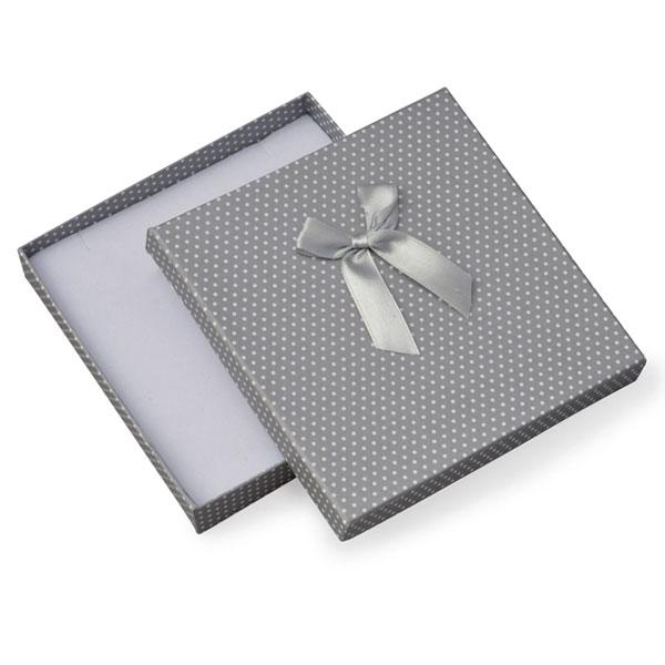 Papírová krabička šedá s bílými puntíky a šedou mašličkou 140 x 140 mm