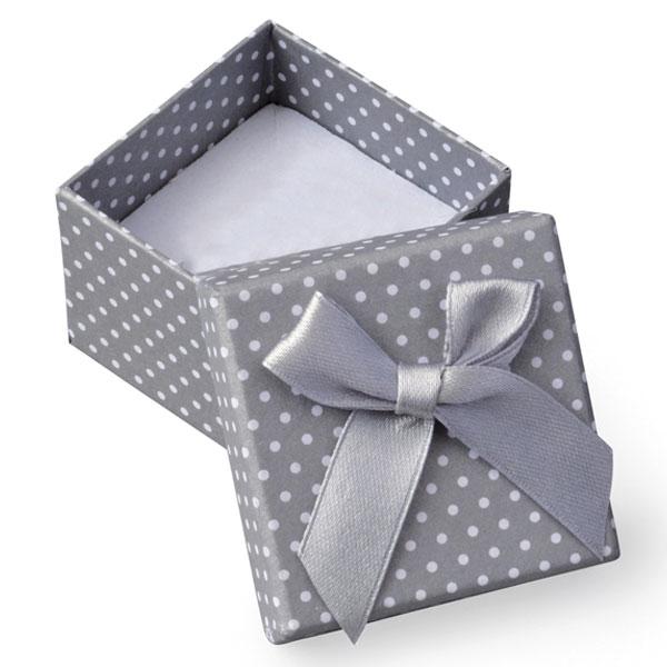 Papírová krabička šedá s bílými puntíky a šedou mašličkou 50 x 50 mm