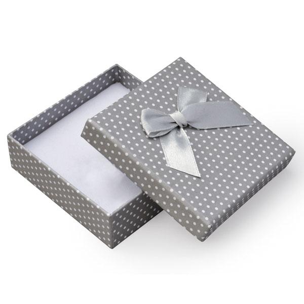 Papírová krabička šedá s bílými puntíky a šedou mašličkou 80 x 80 mm