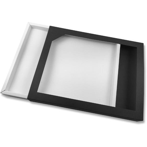 Papírová krabička tmavě modrá s průhledem 260 x 205 x 27 mm