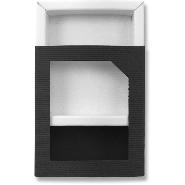 Papírová krabička tmavě modrá s průhledem 75 x 60 x 23 mm