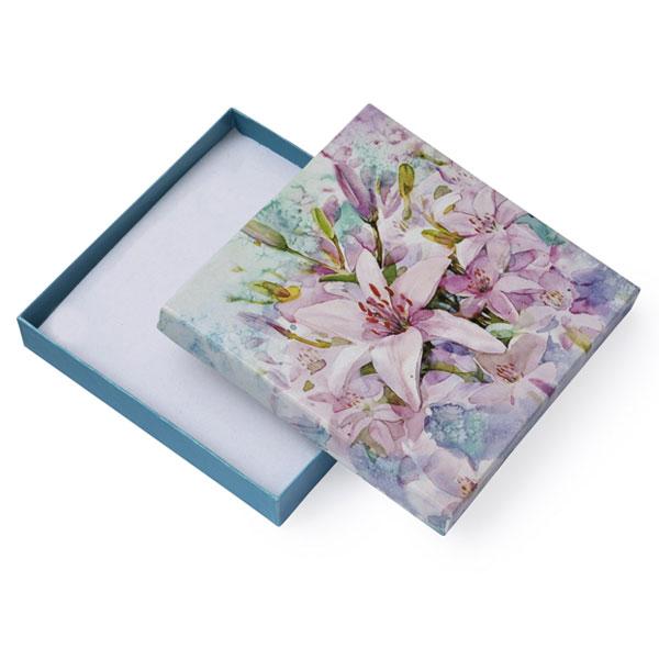 Papírová krabička tyrkysová se vzorem lilie 140 x 140 mm