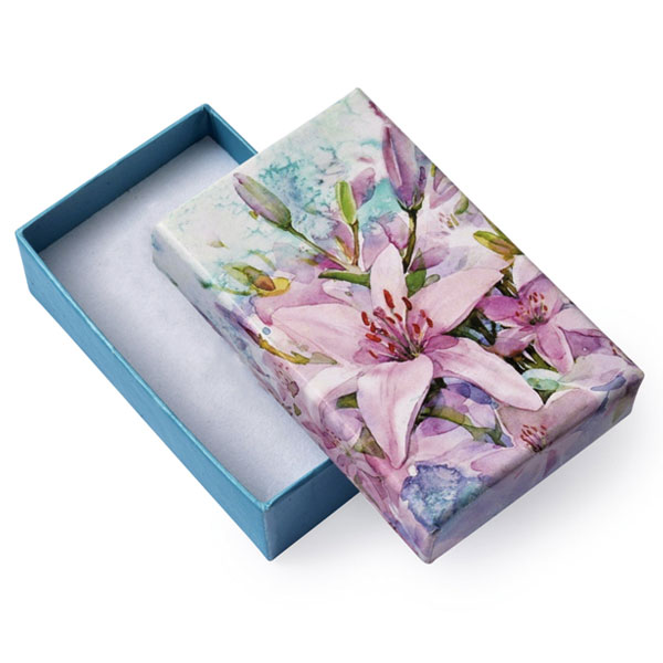 Papírová krabička tyrkysová se vzorem lilie 50 x 80 mm