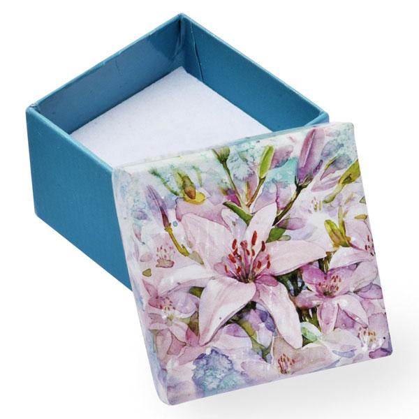 Papírová krabička tyrkysová se vzorem lilie 60 x 60 mm