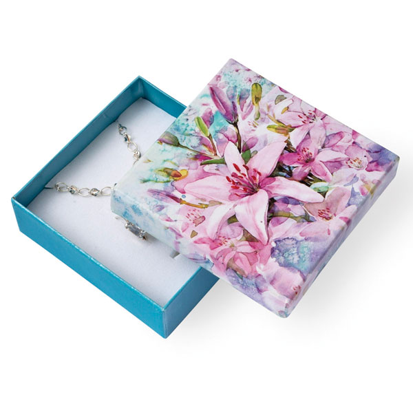 Papírová krabička tyrkysová se vzorem lilie 80 x 80 mm