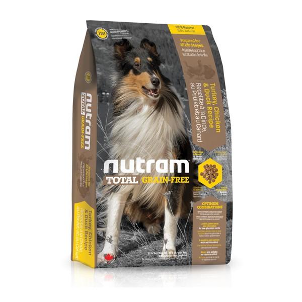 Nutram T23 Total Grain Free Turkey Chicken Duck Dog bezobilné krmivo pro psy (krůtí, kuřecí a kachní) 13,6 kg