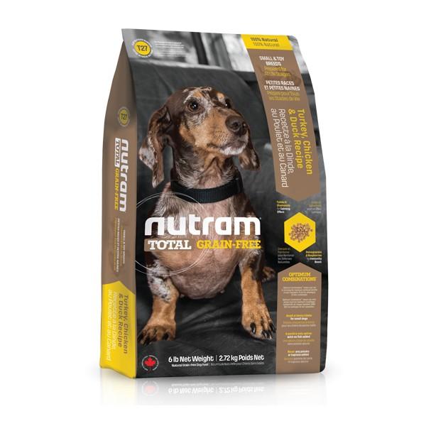 Nutram T27 Total Grain Free Turkey Chicken Duck Dog bezobilné krmivo pro psy malých plemen (krůtí, kuřecí a kachní) Balení: 13,6 kg