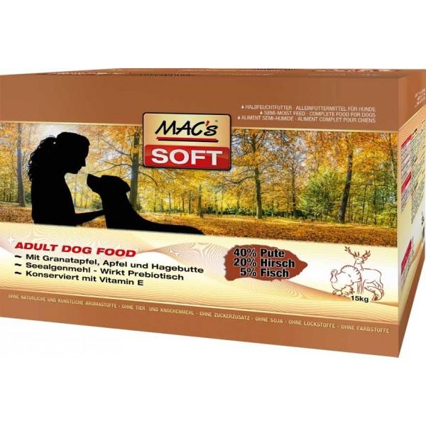 Macs Soft Dog měkké krmivo pro dospělé psy (krůtí a zvěřina) Balení: 15 kg