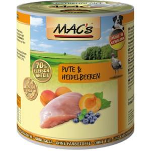 Macs Dog masová konzerva pro psy (krůtí s borůvkami) Balení: 800 g