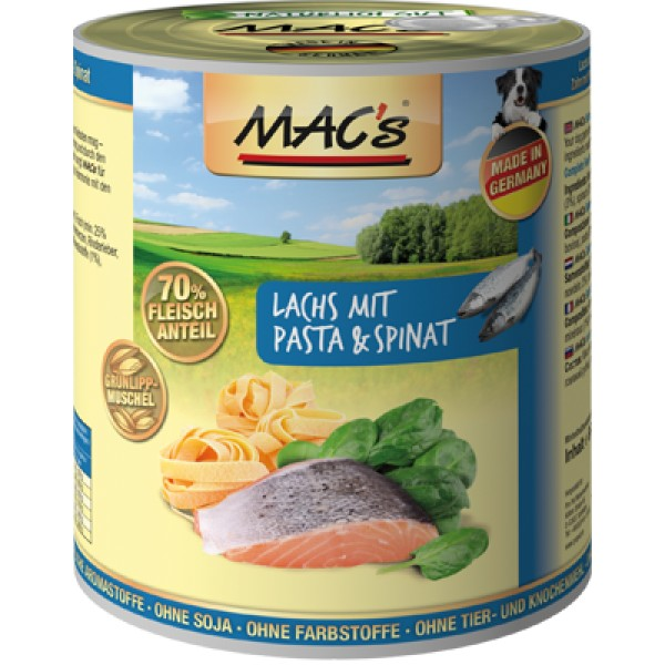 Macs Dog masová konzerva pro psy (losos s těstovinami a špenátem) Balení: 800 g