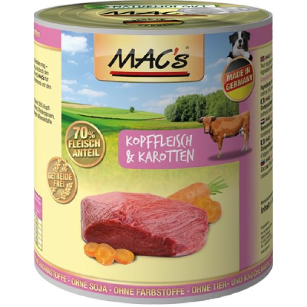 Macs Dog masová konzerva pro psy (maso z hlav s mrkví) Balení: 800 g