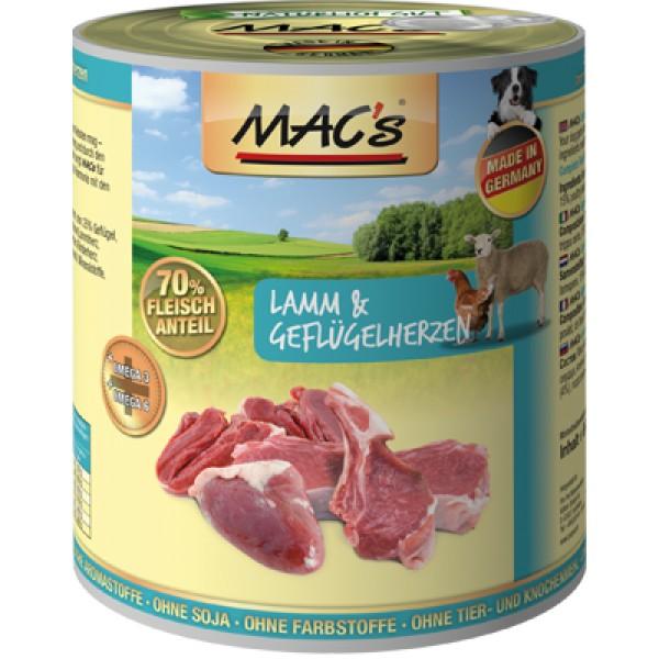 Macs Dog masová konzerva pro psy (jehněčí a drůbeží srdce s rýží) Balení: 2,4 kg