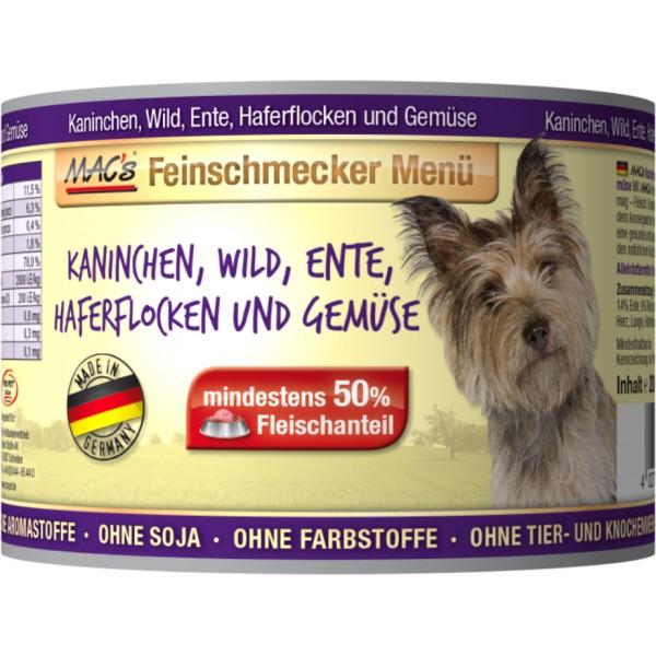 Macs Dog Fajnšmekr masová konzerva pro psy (směs králičího, kachního masa, zvěřiny, ovesných vloček a zeleniny) Balení: 1,2 kg