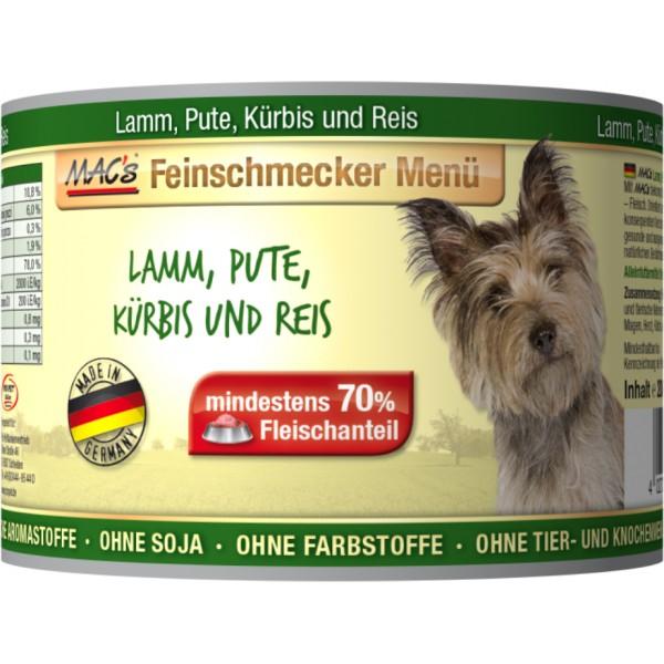 Macs Dog Fajnšmekr masová konzerva pro psy (směs jehněčího a krůtího masa dýní a rýží) Balení: 1,2 kg