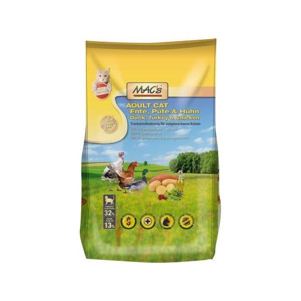 Macs Dry Cat bezobilné krmivo pro dospělé kočky (kachní, krůtí a kuřecí) Balení: 1,5 kg
