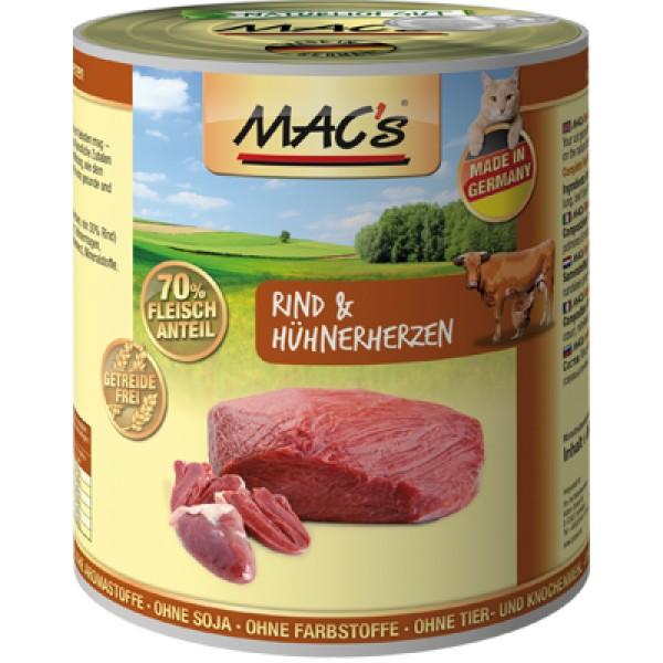 Macs Cat masová konzerva pro kočky (hovězí a kuřecí srdce) Balení: 4,8 kg