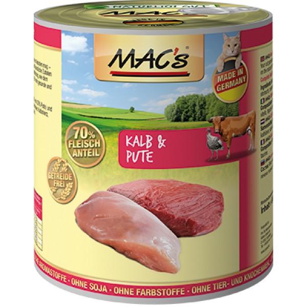 Macs Cat masová konzerva pro kočky (telecí a krůtí) Balení: 800 g