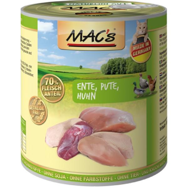 Macs Cat masová konzerva pro kočky (kachní, krůtí, kuřecí) Balení: 800 g