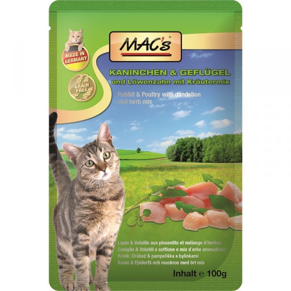 Macs Cat masová kapsička pro kočky (králičí a drůbeží s pampeliškou) Balení: 1,2 kg