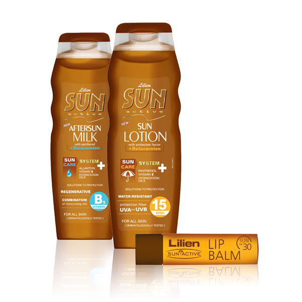 Lilien Sun Active opalovací mléko SPF 15 200 ml + mléko po opalování 200 ml + balzám na rty SPF 30 4,5 ml