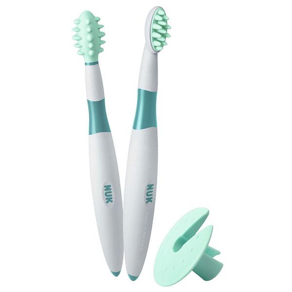 NUK Zubní kartáček 1 ks + masážní kartáček 1 ks