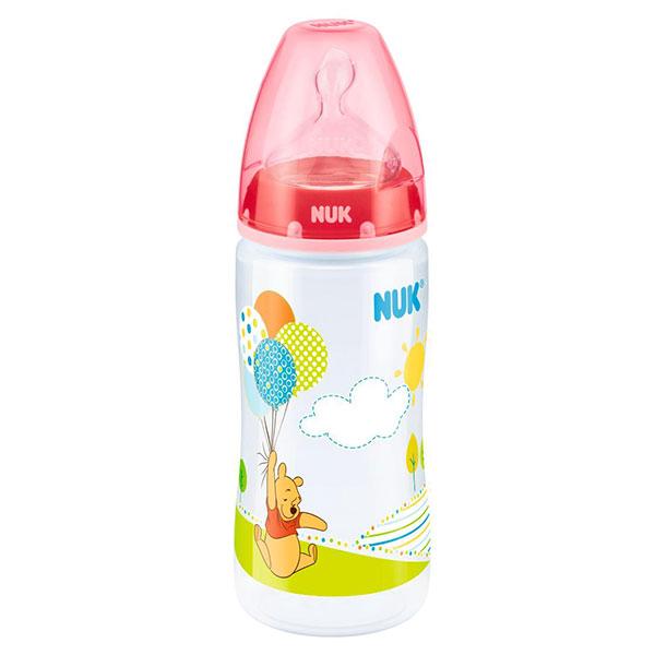 NUK First Choice láhev PP Disney Medvídek Pú, silikon, vel. 1, průtok M, 300 ml Varianta: červená