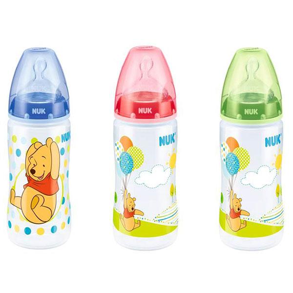 NUK First Choice láhev PP Disney Medvídek Pú, silikon, vel. 1, průtok M, 300 ml Varianta: modrá