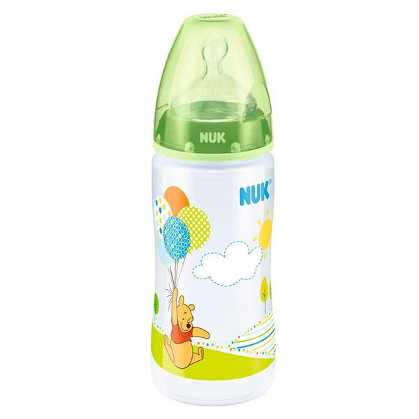 NUK First Choice láhev PP Disney Medvídek Pú, silikon, vel. 1, průtok M, 300 ml Varianta: zelená